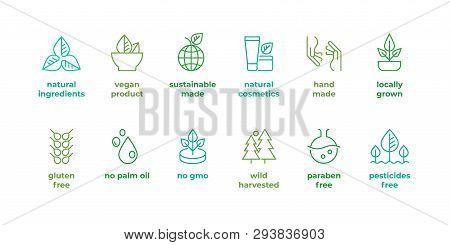 Eco Line Badge. Handmade Eco Logos, Natural Organic Cosmetics Vegan Food Symbols, Vector Linear Glut