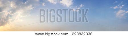 Dramatic Panorama Sky With Cloud On Twilight Time. Panoramic Image.