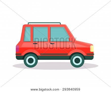 Red Colored Modern Car With Spacious Trunk On Roof Isolated On White Background. Side View Of Comfor