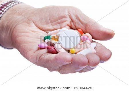 Old Woman Hand And Pills