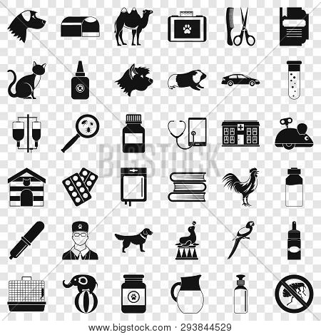 Vet Doctor Icons Set. Simple Style Of 36 Vet Doctor Vector Icons For Web For Any Design