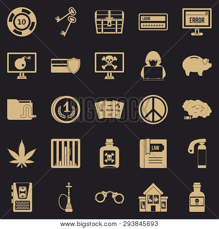 Offence Icons Set. Simple Set Of 25 Offence Vector Icons For Web For Any Design