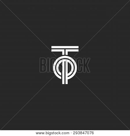 Initials Letters To Or Ot Creative Logo Monogram, Overlapping Two Letters T And O Parallel Lines Geo