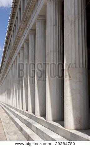 Long row of columns at Stoa Of Attalos, Athens.
