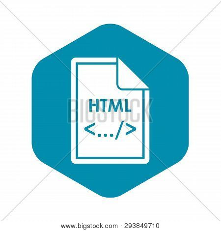 File Html Icon In Simple Style Isolated On White Background. Document Type Symbol