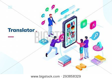 Smartphone Or Phone With Online Language Translator. Isometric View On Translation App With Flags, A