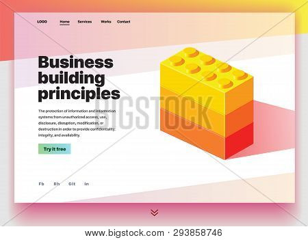 Website Providing The Service Of Business Building Principles. Concept Of A Landing Page For Busines