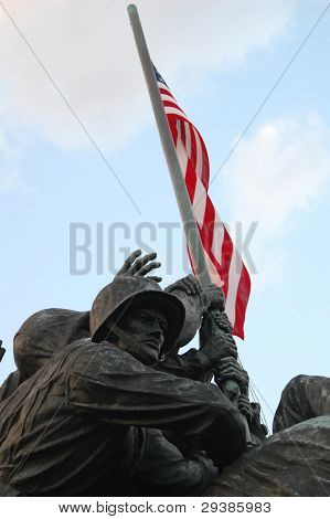 Front view of Iwo Jima Memorial dedicated to the U.S. Marines corps in Arlington National cemetery,Virginia, USA poster
