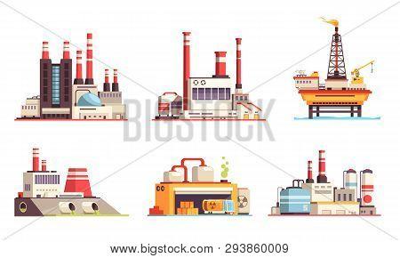 Industrial Buildings Flat Set Of Petroleum Industry Power Plants Power Stations Oil Offshore Platfor