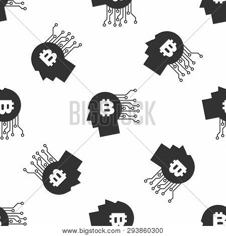 Grey Bitcoin Think Icon Isolated Seamless Pattern On White Background. Cryptocurrency Head. Blockcha