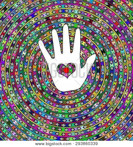 Abstract Background Circles, Eyes And White Hand