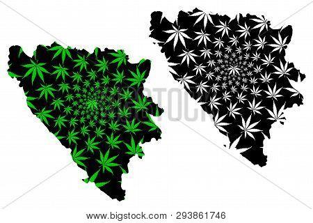Bosnia And Herzegovina - Map Is Designed Cannabis Leaf Green And Black, Bosnia-herzegovina (bih) Map