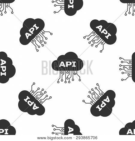 Grey Cloud Api Interface Icon Isolated Seamless Pattern On White Background. Application Programming