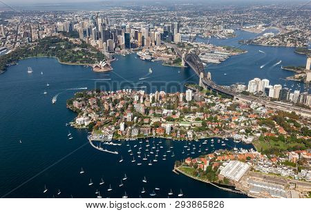 Aerial View From Helicopter Of Sydney Cbd Featuring The Harbour - Kirribilli - Harbour Bridge. Sydne