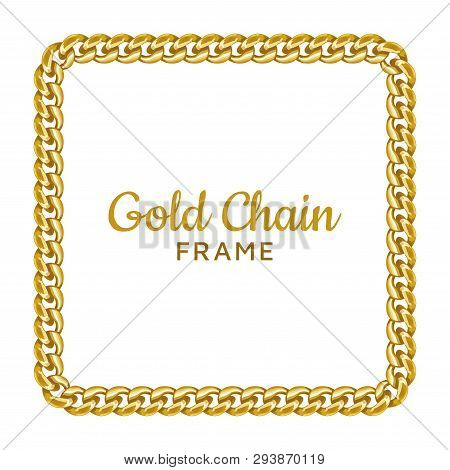Gold Chain Square Border Frame. Rectangle Wreath Shape. Jewelry Image. Realistic Vector Illustration