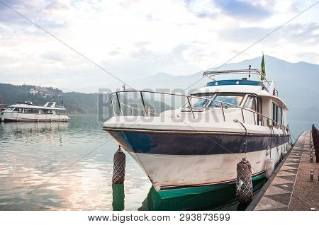 Speed Boat Pier In Sunrise Morning At Sun Moon Lake