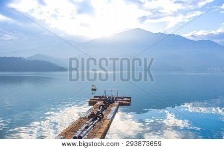 Plastic Pier, Morning Sunrise In Sun Moon Lake, Taiwan