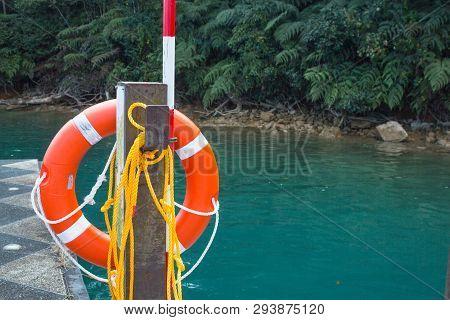 Orange Lifebuoy Safe Life In The Sea
