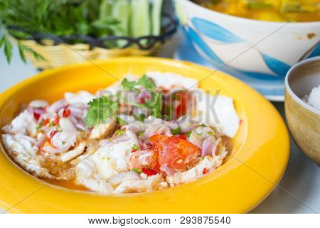 Spicy Salted Fried Eggs With Salad Dish