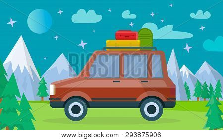 Red Colored Modern Car With Luggage Bags On Spacious Trunk At Roof At Nighty Background With Highlan