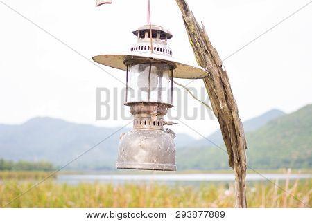 Pressure Paraffin Storm Lamp Lantern In Garden Field