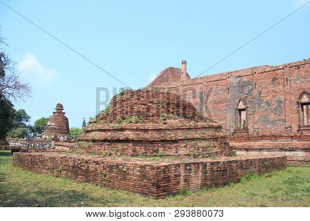 Old Age Ancient Brown Brick Wall Temple