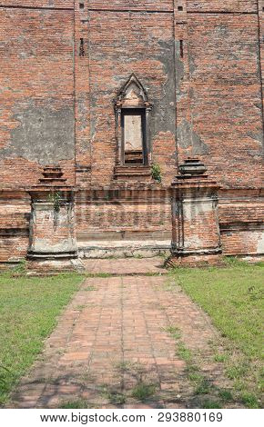 Ancient Old Brick Path Way In Temple