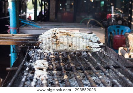 Snakehead Fish Grilled With A Salt Striped