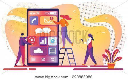 Mobile Application Development Process. Software Api Prototyping And Testing Background. Smartphone