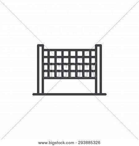 Volleyball Net Line Icon. Linear Style Sign For Mobile Concept And Web Design. Volleyball Outline Ve