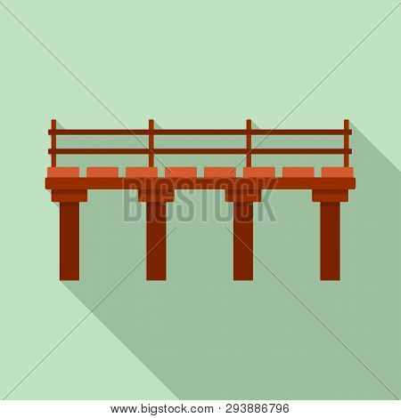River Bridge Icon. Flat Illustration Of River Bridge Vector Icon For Web Design