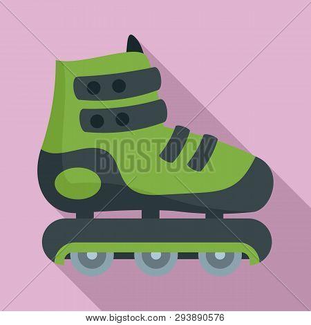 Protected Inline Skates Icon. Flat Illustration Of Protected Inline Skates Vector Icon For Web Desig