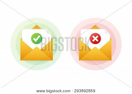 Two Envelope With Approved And Rejected Letters. Vector Stock Illustration.