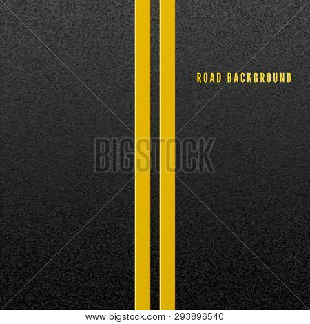 Structure Of Granular Asphalt. Abstract Road Background. Asphalt Texture With Two Yellow Line Road M