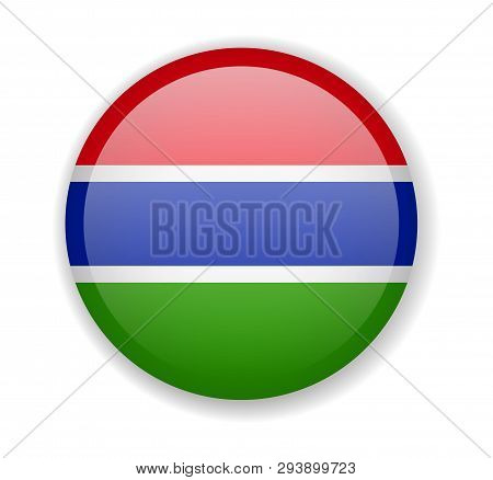 Gambia Flag Round Bright Icon On A White Background