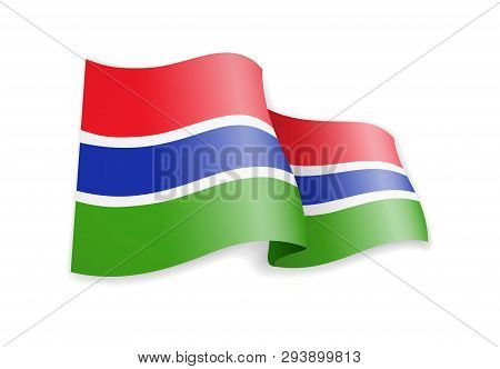Gambia Flag In The Wind. Flag On White Vector Illustration