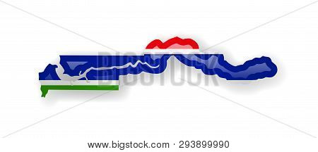 Gambia Flag And Outline Of The Country On A White Background.