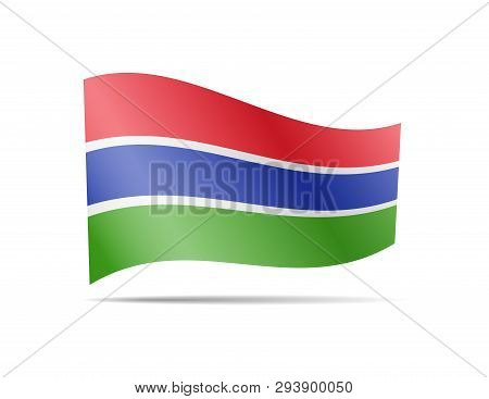 Waving Gambia Flag In The Wind. Flag On White Vector Illustration