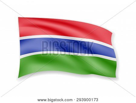 Waving Gambia Flag On White. Flag In The Wind.