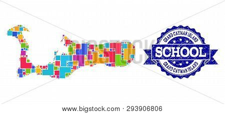Mosaic Puzzle Map Of Grand Cayman Island And Dirty School Seal With Ribbon. Vector Map Of Grand Caym
