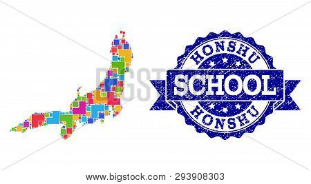 Mosaic Puzzle Map Of Honshu Island And Unclean School Seal With Ribbon. Vector Map Of Honshu Island