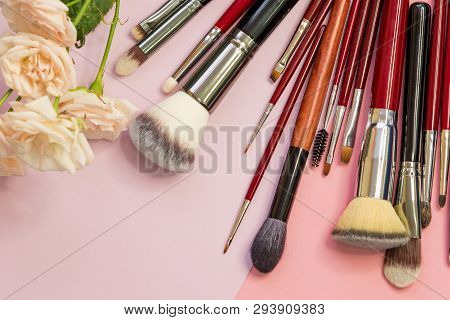 Set Of Different Brushes For Professional Makeup, A Multifunctional Set Of Professional Makeup Artis