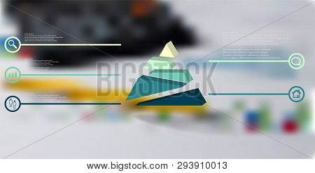 3d Illustration Infographic Template. The Embossed Triangle Is Randomly Divided To Five Shifted Colo