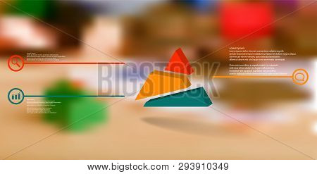 3d Illustration Infographic Template. The Embossed Triangle Is Randomly Divided To Three Shifted Col