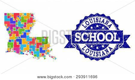 Mosaic Puzzle Map Of Louisiana State And Rubber School Seal With Ribbon. Vector Map Of Louisiana Sta