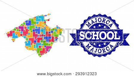Mosaic Puzzle Map Of Majorca And Rubber School Seal With Ribbon. Vector Map Of Majorca Constructed W