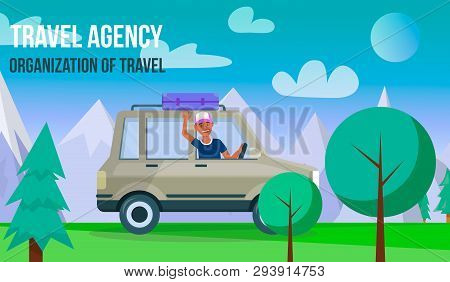 Travel Agency. Organization Of Travel Horizontal Banner With Copy Space. Happy Young Man Driving Gre