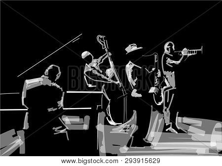 Jazz Band. Black And White Musical Illustration. Trombonist, Saxophone Player, Pianist, Contrabass P