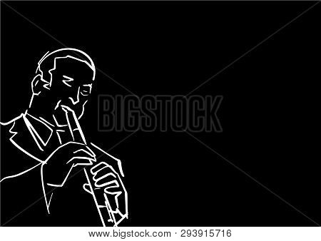 Flutist. Jazz Musician. White Contour On Black Background. Simple Drawing. Musical Illustration. Des