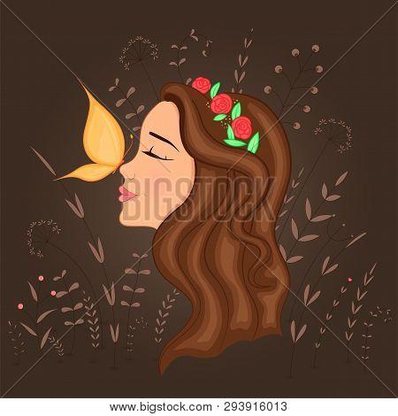 Gift Postcard With Cartoon Beautiful Girl In Profile With Wreath